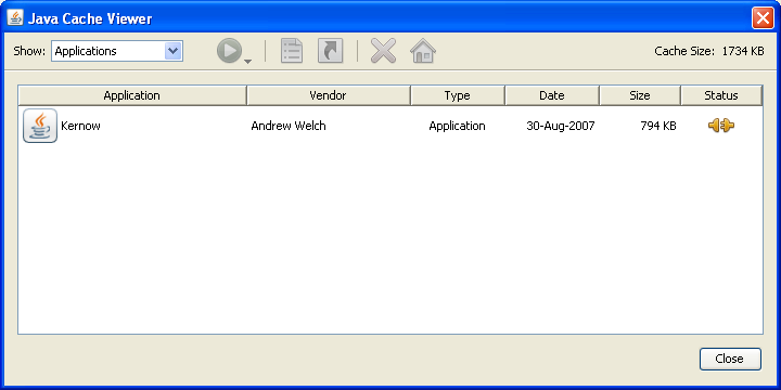 Java control panel - cache viewer