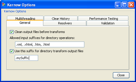 Set the input files that should be processed and choose the output suffix